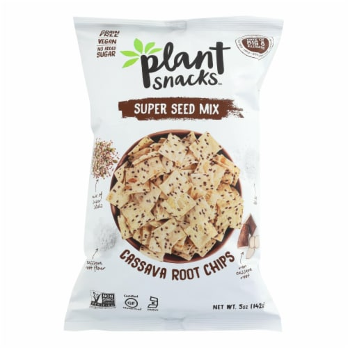 Cassava Crunch Plant Snacks, Seeds  - Case of 12 - 5 OZ Perspective: front