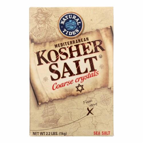 Natural Tides Mediterranean Kosher Salt - Coarse Crystals - Case of 6 - 2.2 LB Perspective: front