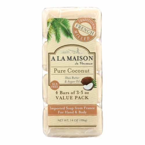 A La Maison - Bar Soap - Pure Coconut - 4/3.5 Oz Perspective: front