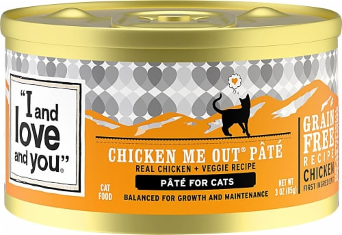 I and Love and You Chicken Me Out Pate Wet Cat Food Perspective: front