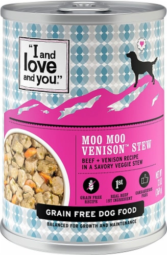 I and Love and You Moo Moo Venison Stew Wet Dog Food Perspective: front