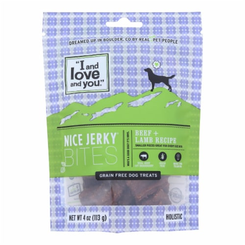 I And Love And You Nice Beef + Lamb Jerky Bites Dog Treats - Case of 6 - 4 OZ Perspective: front