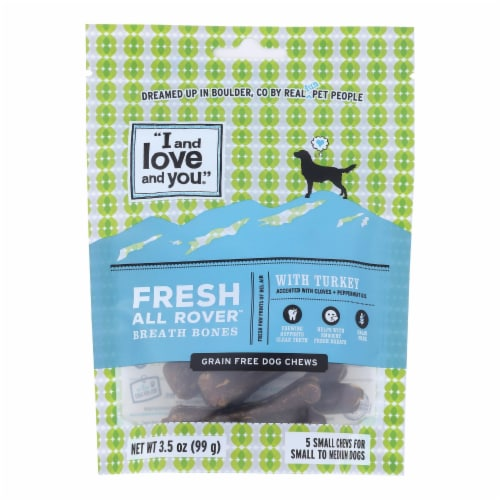 I And Love And You Dog Treats, Fresh All Rover Breath Bones  - Case of 6 - 5 CT Perspective: front
