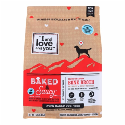 I And Love And You - Dog Food Baked Saucy Beef - Case of 6 - 4 LB Perspective: front