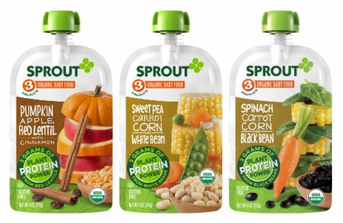 Sprout Organic Plant Protein Variety Pack Stage 3 Baby Food Perspective: front