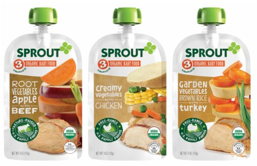 Sprout Organic Variety Meat Stage 3 Baby Food Perspective: front