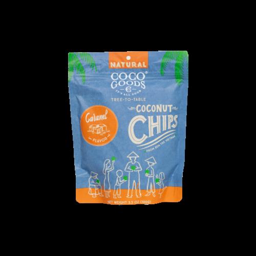Natural Coconut Chips Caramel 3.5 oz, Zip lock Bag Perspective: front