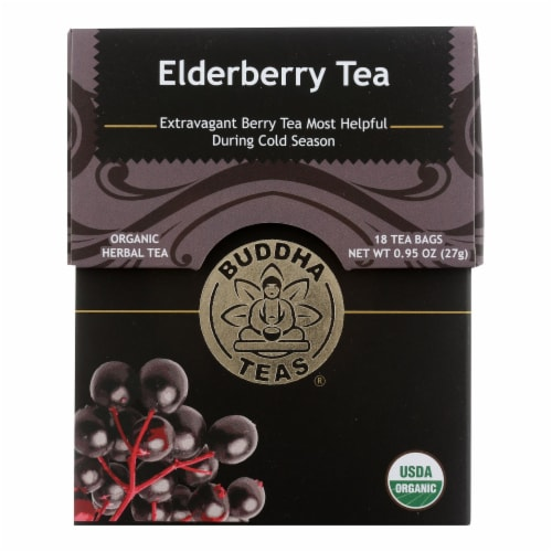Buddha Teas - Organic Tea - Elderberry - Case of 6 - 18 Count Perspective: front