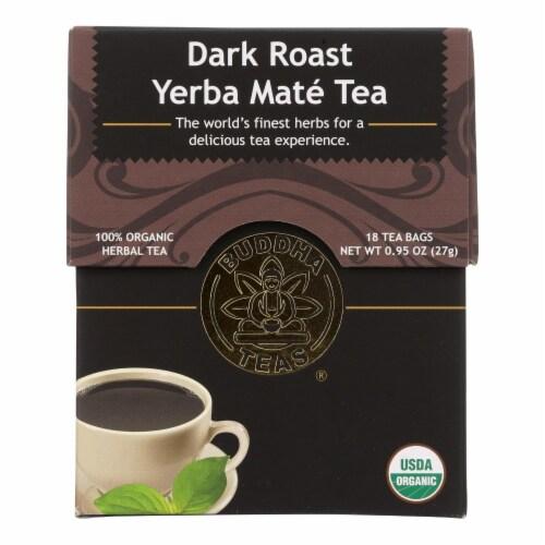Buddha Teas - Organic Tea - Dark Roast Yerba Mate - Case of 6 - 18 Bags Perspective: front