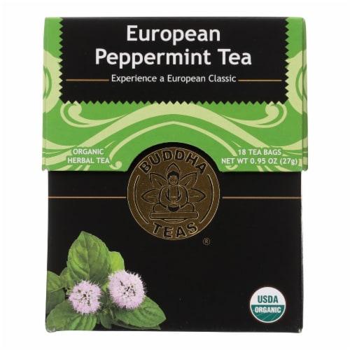 Buddha Teas - Organic Tea - European Peppermint - Case of 6 - 18 Bags Perspective: front