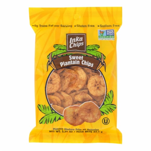 Inka Crops - Plantain Chips - Sweet - Case of 12 - 3.25 oz. Perspective: front