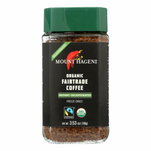 Mount Hagen Organic Fairtrade Instant Decaffeinated Coffee  - Case of 6 - 3.53 OZ Perspective: front