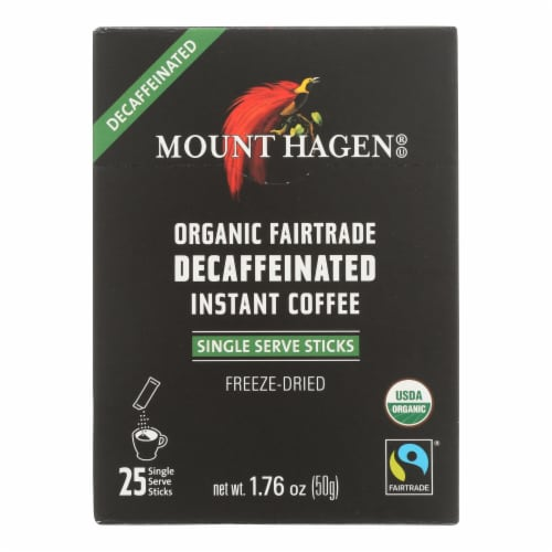 Mount Hagen - Organic Fairtrade Decaffeinated Instant Coffee 25ct - Case of 8 - 1.76 OZ Perspective: front