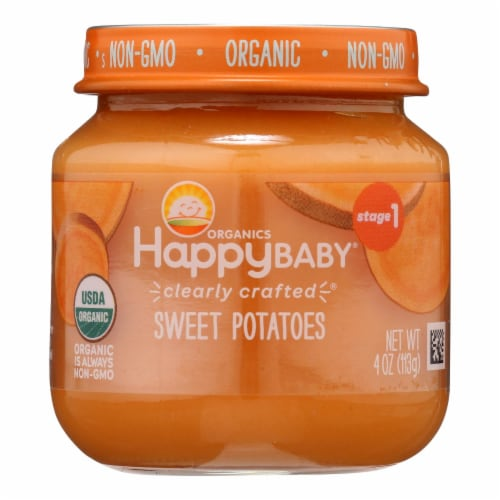 Happy Baby Organics Clearly Crafted Stage 1 Sweet Potato Baby Food Perspective: front