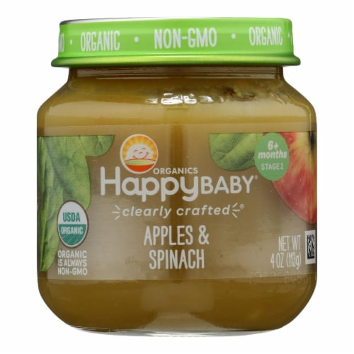 Happy Baby Organic Apples & Spinach Stage 2 Baby Food Perspective: front