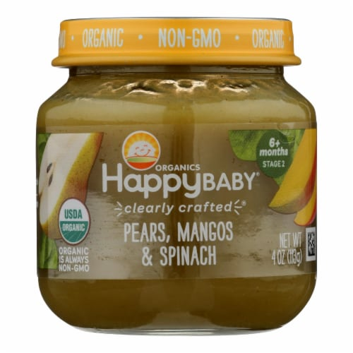 Happy Baby Organics Clearly Crafted Pears Mangos & Spinach Stage 2 Baby Food Perspective: front