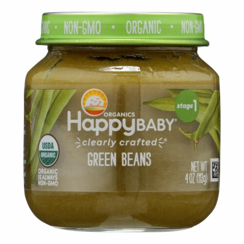Happy Baby Organic Green Beans Stage 1 Baby Food Perspective: front