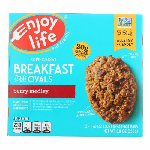 Enjoy Life - Bar Breakfast Berry Medley - Case of 6 - 8.8 OZ Perspective: front