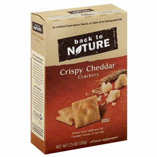 Back To Nature Cheddar Crispy Crackers, 7.5 OZ (Pack of 6) Perspective: front