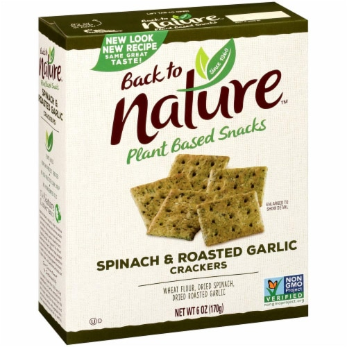 Back to Nature Spinach & Roasted Garlic Plant Based Crackers Perspective: front