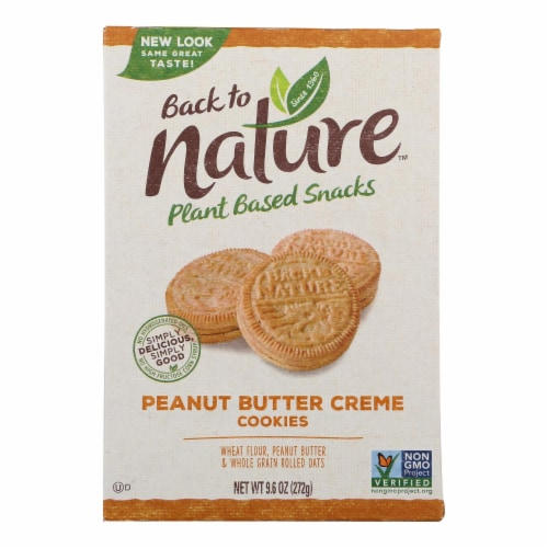 Back To Nature Creme Cookies - Peanut Butter - Case of 6 - 9.6 oz. Perspective: front