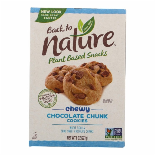 Back To Nature Cookies - Chewy Chocolate Chunk - Case of 6 - 8 oz Perspective: front
