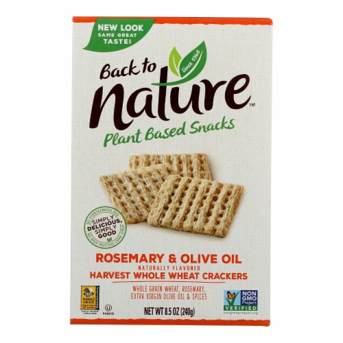 Back to Nature Rosemary & Olive Oil Whole Wheat Crackers Perspective: front