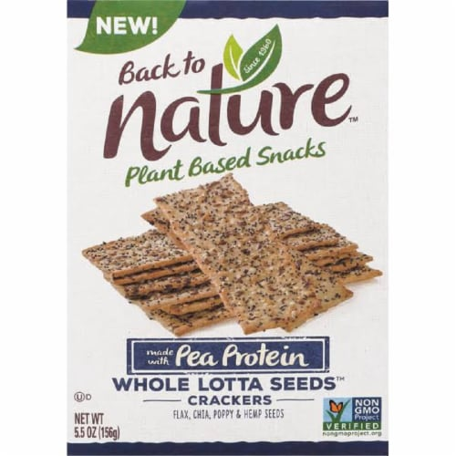 Back to Nature Plant Based Snacks  Made with Pea Protein Crackers, 5.5 oz (Pack of 6) Perspective: front