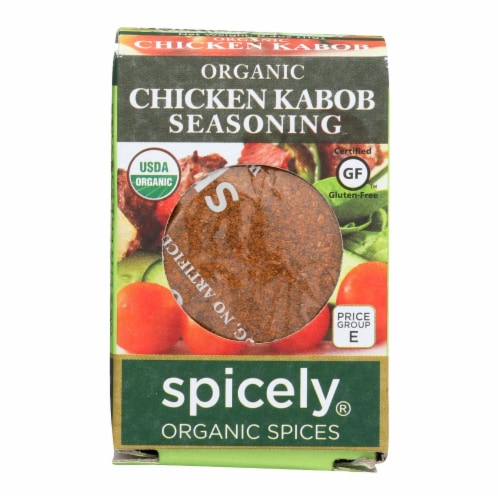 Spicely Organics - Organic Chicken Kabob Seasoning - Case of 6 - 0.4 oz. Perspective: front