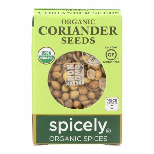 Spicely Organics - Organic Coriander Seed - Case of 6 - 0.3 oz. Perspective: front