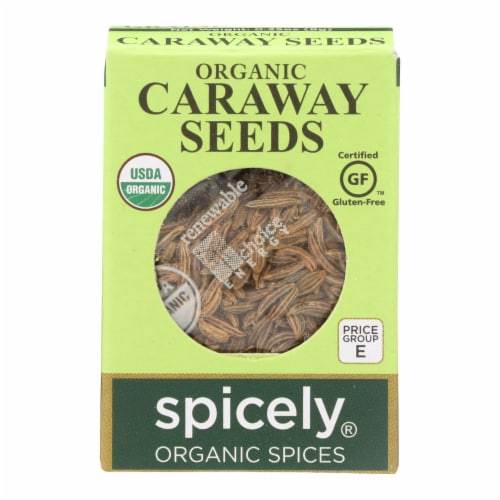 Spicely Organics - Organic Caraway Seeds  - Case of 6 - 0.35 oz. Perspective: front