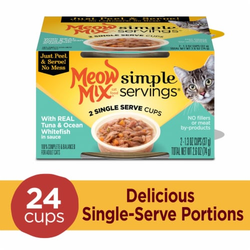 Meow Mix Simple Servings Real Tuna Ocean Whitefish in Sauce Wet Cat Food Perspective: front