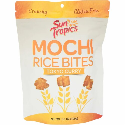 Sun Tropics Mochi Golden Curry Snack Bites Gluten & Dairy Free , 3.5oz (pack of 12) Perspective: front
