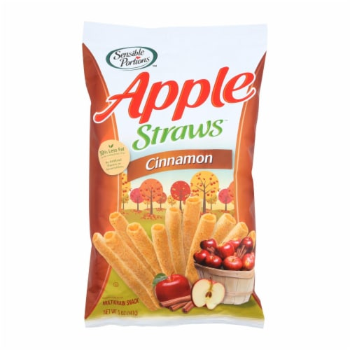 Sensible Portions Apple Straws - Cinnamon - Case of 12 - 5 oz. Perspective: front