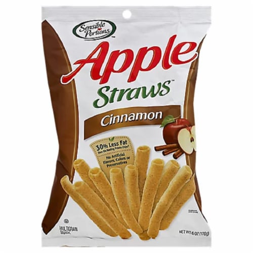 Sensible Portions Cinnamon Apple Straws, 6 OZ (Pack of 12) Perspective: front