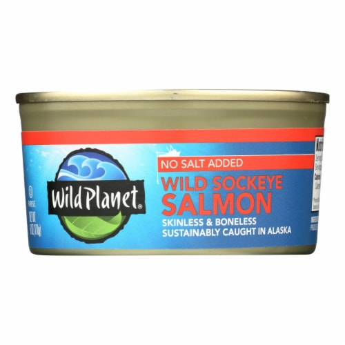 Wild Planet Wild Sockeye Salmon - No Salt Added - Case of 12 - 6 oz Perspective: front