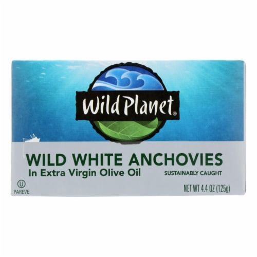 Wild Planet White Anchovies in Extra Virgin Olive Oil - Case of 12 - 4.4 oz Perspective: front