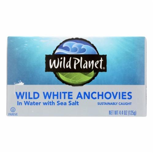 Wild Planet White Anchovies - in Water - Case of 12 - 4.4 oz Perspective: front
