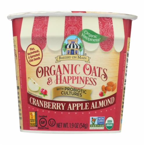 Bakery On Main Oats and Happiness Oatmeal Cup - Cranberry Apple Almond - Case of 12 - 1.9 oz. Perspective: front