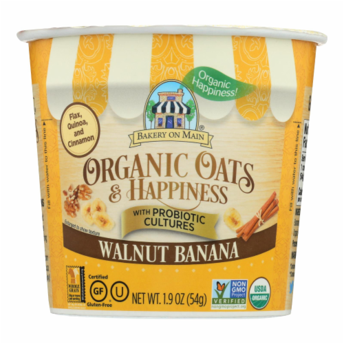 Bakery On Main Oats and Happiness Oatmeal Cup - Walnut Banana - Case of 12 - 1.9 oz. Perspective: front