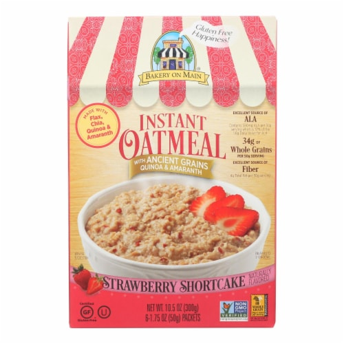 Bakery On Main Instant Oatmeal Shortcake - Strawberry - Case of 6 - 10.5 oz. Perspective: front