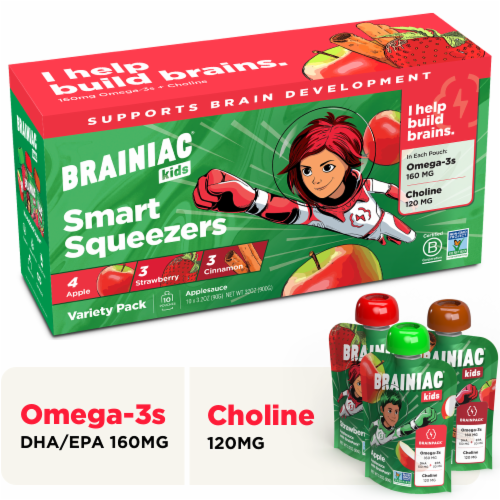 Brainiac Omega-3 Smart Applesauce Variety Pack, No Added Sugar, 10 Count Perspective: front