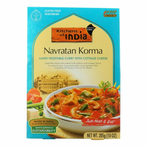 Kitchen Of India Dinner - Mixed Vegetable Curry w Cottage Cheese - Navratan Korma-10 oz-6Case Perspective: front
