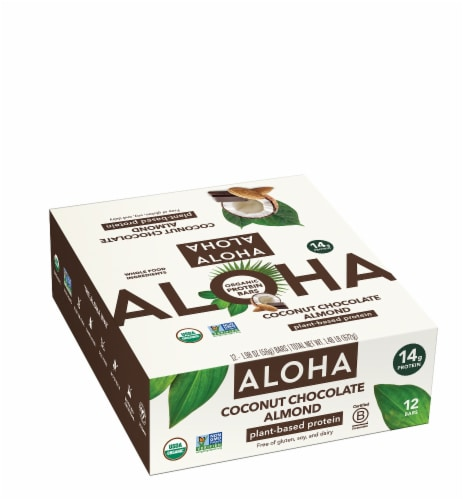 Aloha Coconut Chocolate Almond Protein Bars Perspective: front