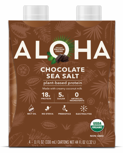 Aloha Chocolate Sea Salt Protein Shake Perspective: front