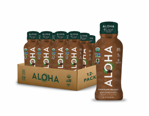 Aloha Organic Plant Based Chocolate Protein Shake Perspective: front
