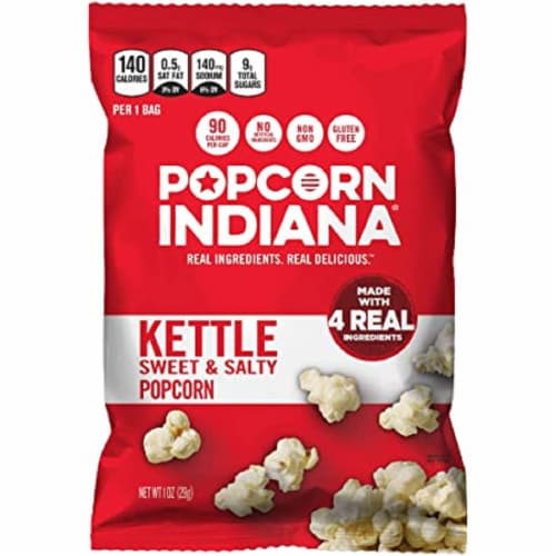 Popcorn Indiana Sweet & Salty Kettle Popcorn Non GMO & Gluten Free, 7oz (Pack of 12) Perspective: front