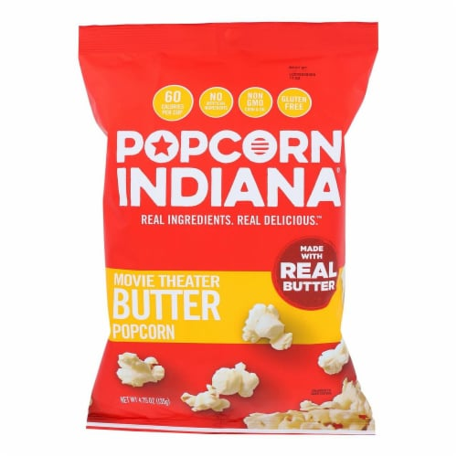 Popcorn Indiana Movie Theater Butter Popcorn Non GMO & Gluten Free , 4.75oz (Pack of 12) Perspective: front