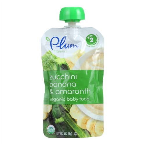 Plum Organics Baby Food-Zucchini Banana and Amaranth-Stage 2-6 Months and Up-3.5oz-Case of 6 Perspective: front