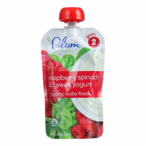 Plum Organics Baby Food-Raspberry Spinach, Greek Yogurt-Stage 2-6 Months and Up-3.5oz-6Case Perspective: front